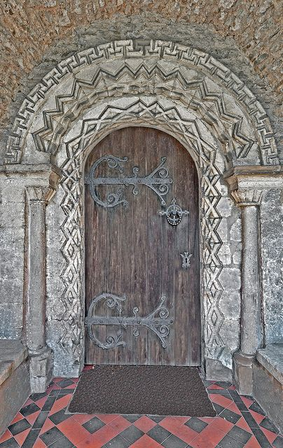 An early 13th.century decorated Norman doorway. Church of the Blessed Virgin Mary, Somerset.