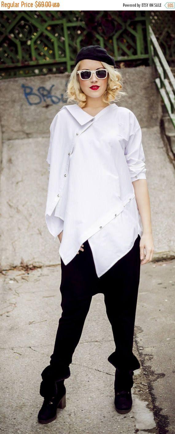 PURPLE SALE 15% OFF White Top / Plus Size White Cotton Shirt / https://www.etsy.com/listing/212374186/purple-sale-15-off-white-top-plus-size?utm_campaign=crowdfire&utm_content=crowdfire&utm_medium=social&utm_source=pinterest