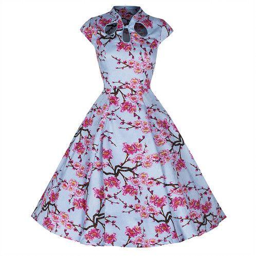 Banned 50s Sky Blue Floral Print Swing Dress | VintageFlamingo.co.uk/ Vintage Inspired Online Boutique