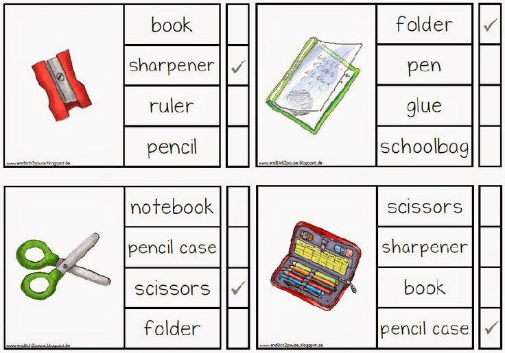Grundschule Englisch: Klammerkarten School things