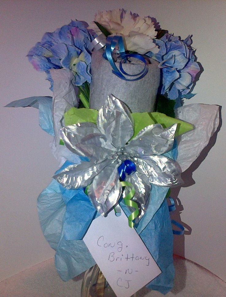 Front Close Up of a Small Onesie Bouquet