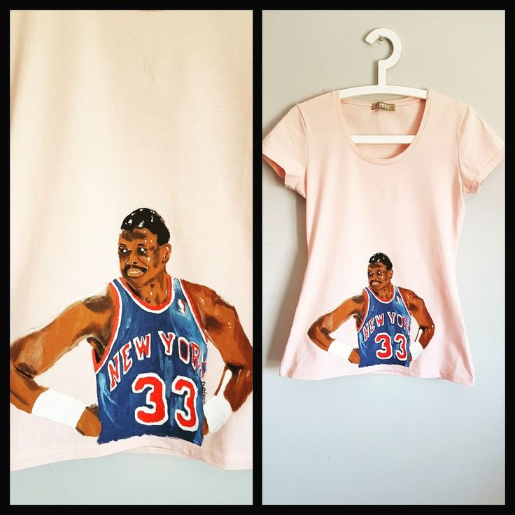 Patrick Edwing, NBA legend. Handpainted illustration, on a pink girly t-shirt.
