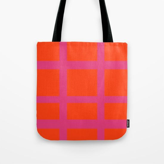 Thick Orange and Pink Grid Tote Bag by Bravely Optimistic | Society6