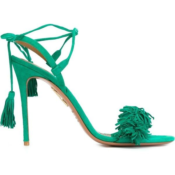 Aquazzura Wild Thing Sandals ($617) ❤ liked on Polyvore featuring shoes, sandals, green, suede sandals, aquazzura, suede shoes, green suede shoes and green shoes
