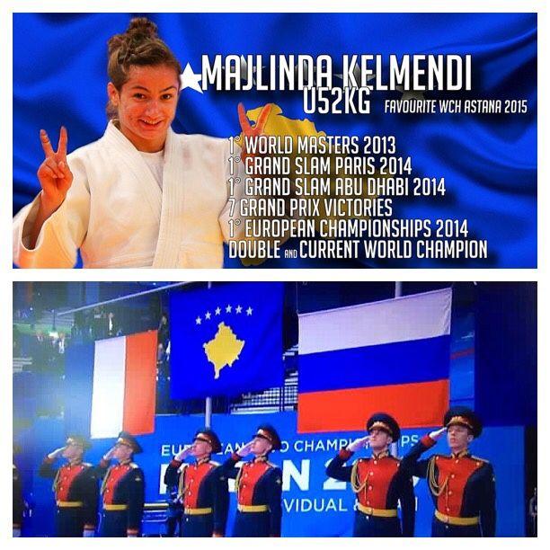 Majlinda Kelmendi World and European champion in Judo Russian Soldiers saluting Kosovan Flag in Russia