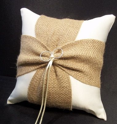 Ivory Burlap Wedding Ring Bearer Pillow Rustic Outdoor Barn Country Western
