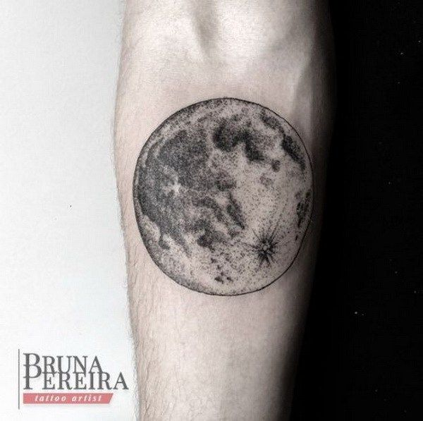 Detailed Moon Tattoo for Men.