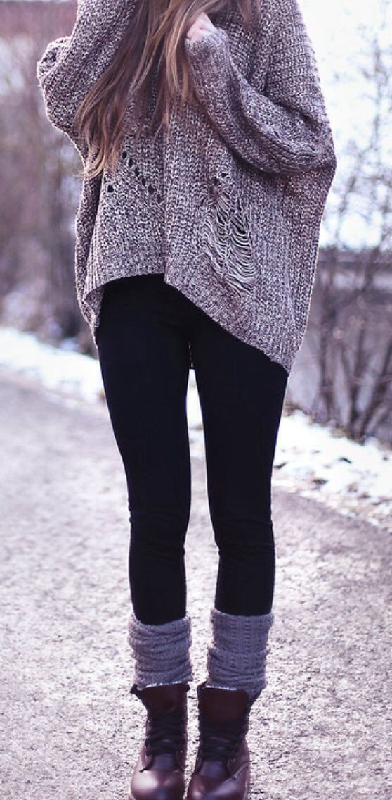 gray knit oversize sweater, black leggings, dark red flat boots with a leather lacing,