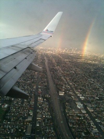 Los Angeles Skyline : With Rainbow  Where sin abounds, God's grace does much more abounds.