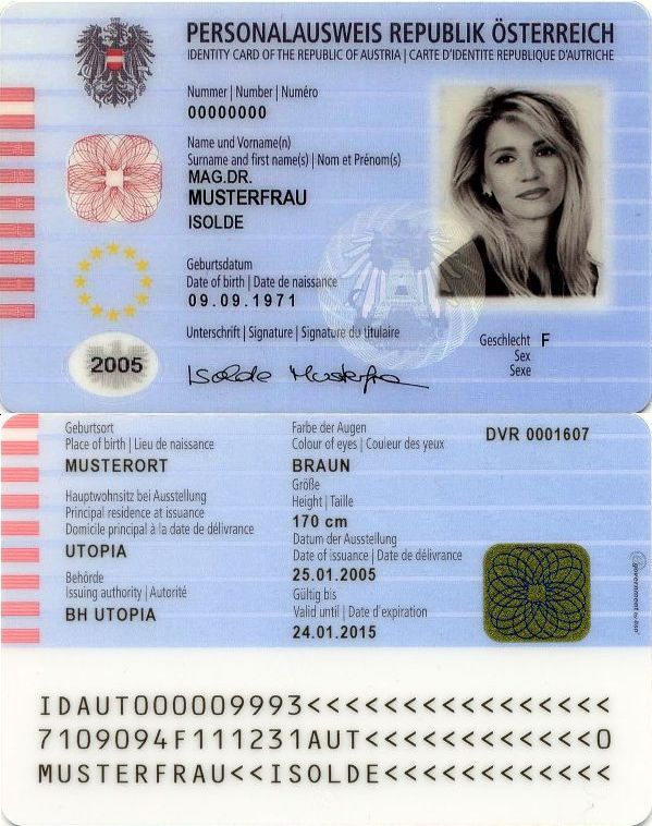 Austrian identity card sample Best Business Cards Pinterest - id card