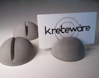 concrete place marker menu holder reserve table card display - Kreteware Concrete