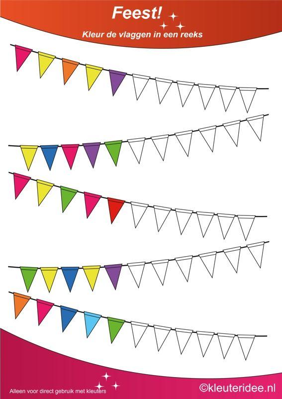 Kleur de vlaggen in een reeks 4, thema feest voor kleuters, juf Petra van kleuteridee, Color the flags, free printable.