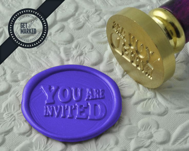 You're Invited - Wax Seal Stamp by Get Marked - Wedding Collection (WS0192).  The stamp is ideal for wedding, engagement party and bridal shower invitations. #GetMarked, #waxsealstamp, #waxseal, #wax, #wedding, #invitation