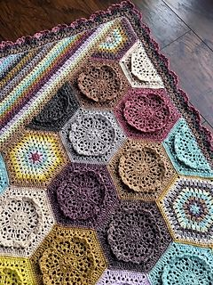 Dutch Rose - free crochet hexagon blanket pattern by Rachele Carmona of Cypress Textiles. Includes floral hexagon and granny hexagon patterns plus half hexagons for both.