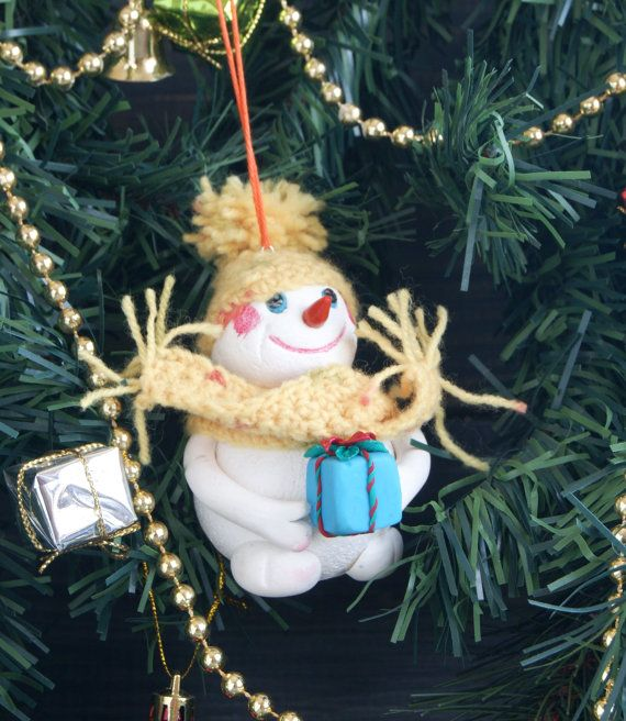 Snowman toy for a Christmas tree, polymer clay, height 10 cm. crochet, christmas lights collection