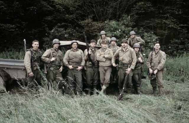 Tom Hanks, Giovanni Ribisi, Jeremy Davies, Barry Pepper, Tom Sizemore, Vin Diesel, Adam Goldberg and Edward Burns in Saving Private Ryan...  Talk about a strong ensemble cast!