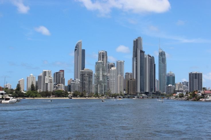 View of Surfers Paradise from a boat cruise. Gold Coast, Queensland, Australia