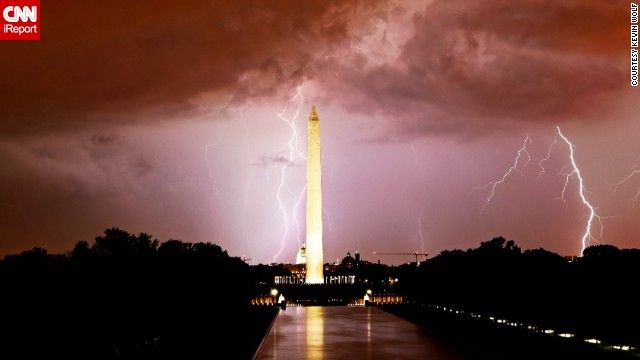 Washington, D.C., looks electrifying as lightning strikes over the Washington Monument.