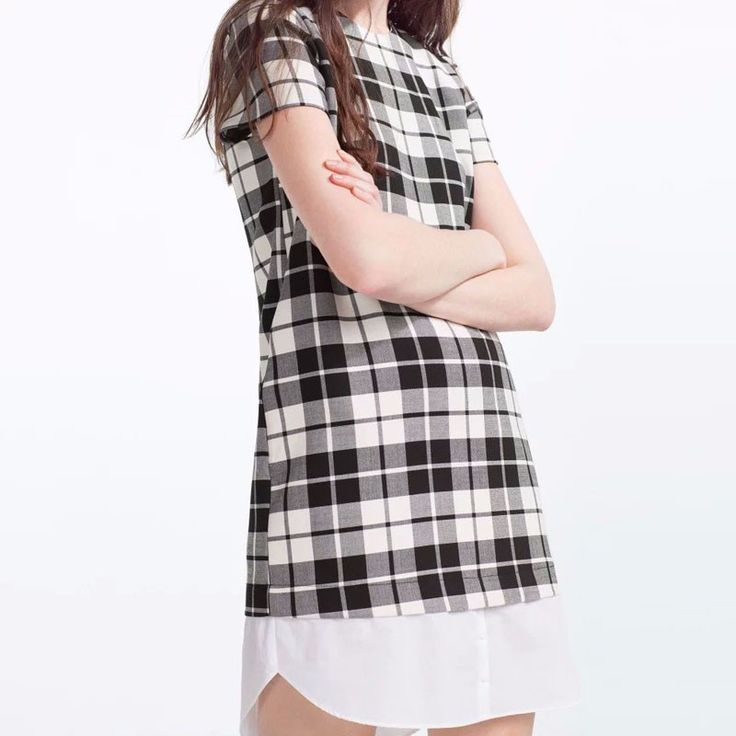 Mujeres se visten de 2016 a cuadros de verificación informal Dress Party nueva moda estilo de muy buen gusto de la rodilla vestido corto de la manga mujeres LBEB8459 en Vestidos de Ropa y Accesorios de las mujeres en AliExpress.com   Alibaba Group