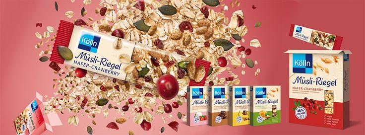 Schon entdeckt? Ab sofort gibt es Kölln Müsli auch im praktischen Snackformat – und das in gleich fünf verschiedenen Sorten: Müsli-Riegel Schoko-Banane, Honig-Nuss, Hafer-Schoko, Hafer-CWir sucheranberry und Joghurt-Erdbeer.   Geeignet für alle, die gern unterwegs sind und gemeinsam mit ihrer Familie, Freunden und Kollegen.  Kernige Haferflocken, Kölln Vollkorn Haferfleks® sowie fruchtige, nussige oder schokoladige Zutaten geben den Riegeln ein typisch Müsli-buntes Aussehen und natürlich…