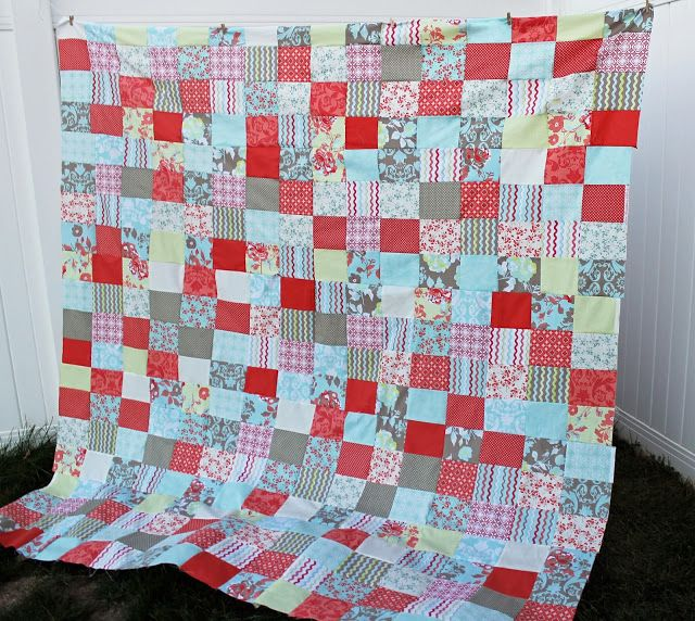 Easy Fat Quarter Patchwork Quilt Top with Free Pattern - For this quilt top you will need 1 fat ...