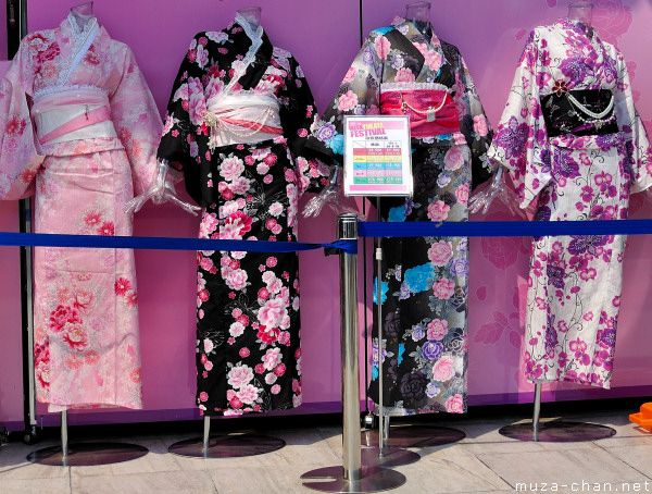 Yukata is a casual light cotton summer kimono, widely worn at festivals and at the ryokan (traditional Japanese inn).  Buy in regular dept store for better quality, avoid buying at tourist shops
