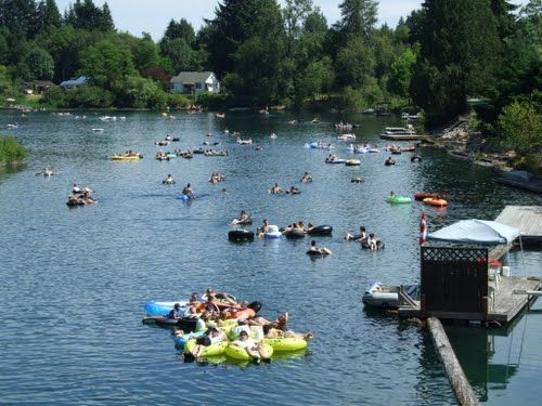Tubing on Cowichan River near Duncan, Vancouver Island BC