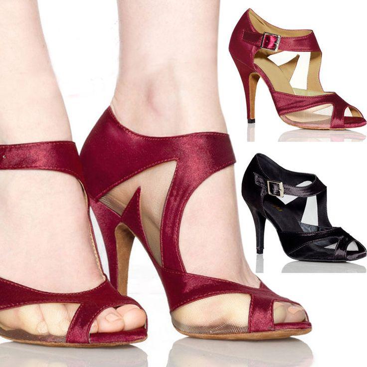 Sexy Women Satin Ballroom Salsa Latin Dance Shoes Tango Fancy Heeled Shoe NICE #New
