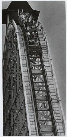 "Cedar point rollercoaster, ""The Blue Streak""."