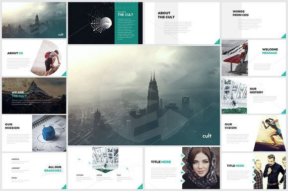 cool Powerpoint Template - Cult  CreativeWork247 - Fonts, Graphics, Themes,...