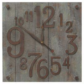 """Weathered wall clock with gradient numbers.  Product: Wall clockConstruction Material: Wood and metalColor: Gray and rustAccommodates: Batteries - not includedDimensions: 23.5"""" H x 23.5"""" W x 1.75"""" D"""