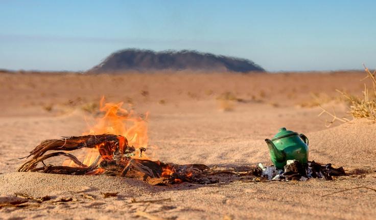 Morning tea at the Western Sahara.