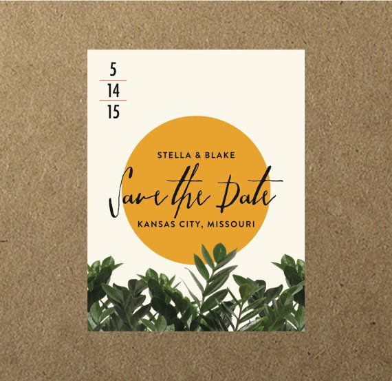 $100 for 50 Botanical Greenery Wedding Save the Dates - Magnets or Cards // by blacklabstudio