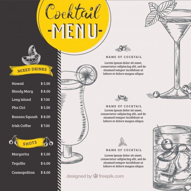 Cocktail menu mockup