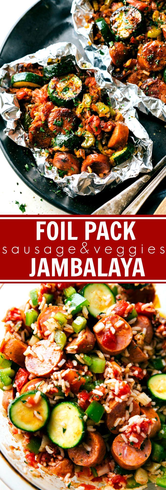 EASY TIN FOIL SAUSAGE VEGGIE DINNER! Andouille sausage, veggies, uncooked rice, and a delicious spice mixture -- throw it all together in some tin foil and forget about it!