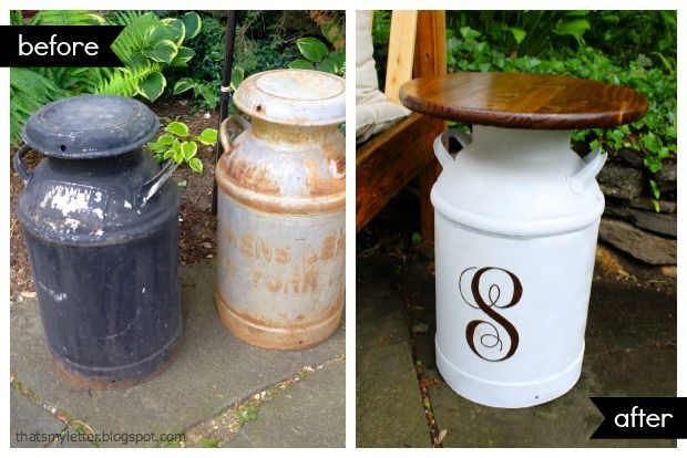 Best 25 milk can table ideas on pinterest porch table for Repurposed milk cans