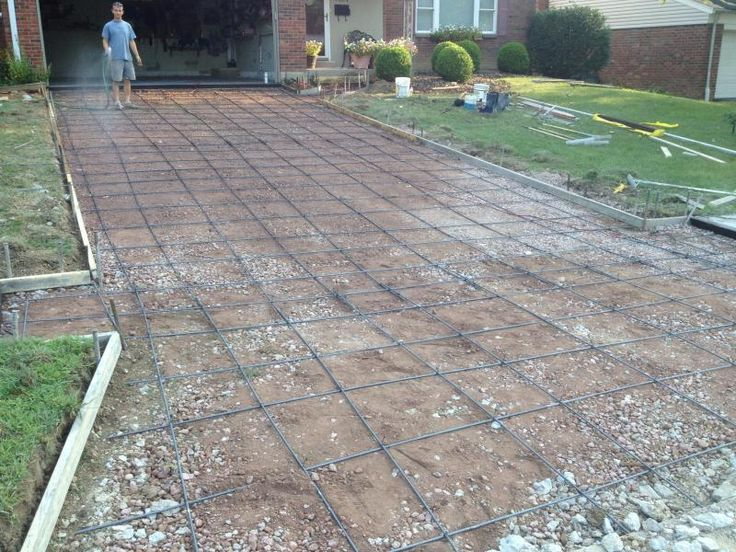 how to pour a concrete driveway installing rebar before