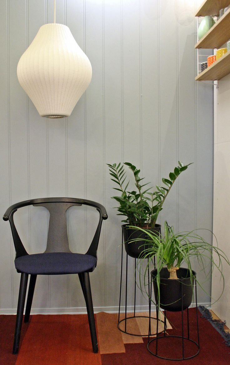 Bubble lamp Pear, In Between chair and Another Rug from And Tradition and Wire Pot from Menu