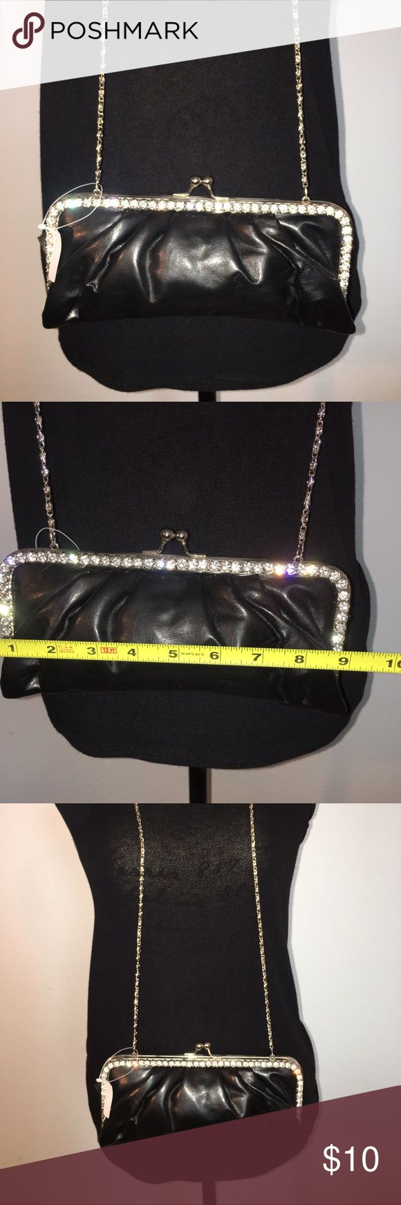 Black rhinestone clutch Black rhinestone clutch I never use it. No rhinestones missing . Perfect for an evening on the town. Bags Mini Bags