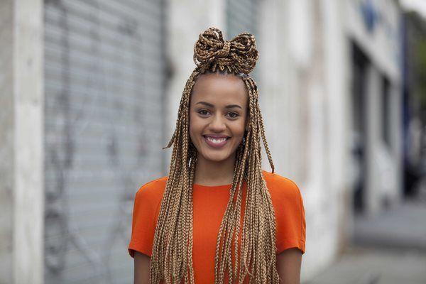 bow bun for box braids cool hairstyles ideas #hair #braids #rock #hairstyles