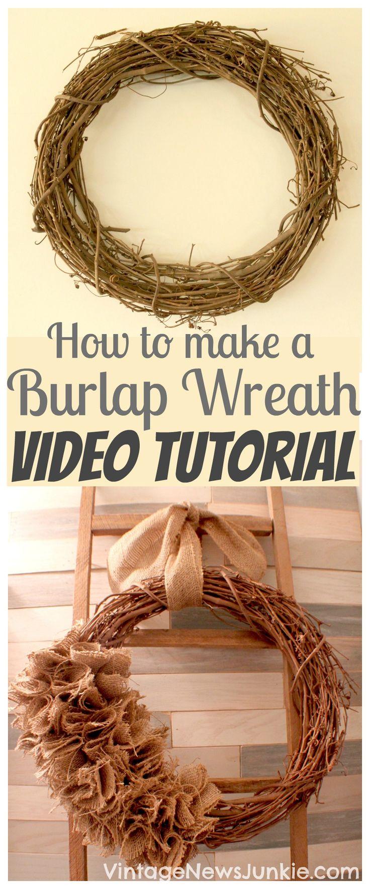 How to Make a Burlap Wreath Video Tutorial