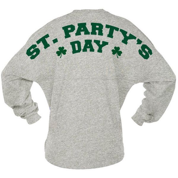 St. Patrick's Day Jersey St. Party's Day Clovers Spirit Wear; Game Day... ($35) ❤ liked on Polyvore featuring tops, night out tops, white cotton shirt, pom pom shirts, white cotton tops and jersey shirts