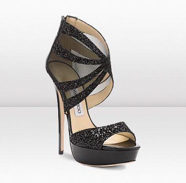 Liv  These sexy yet elegant towering 145mm platform sandals in sheer mesh and glitter fabric are not to be missed.
