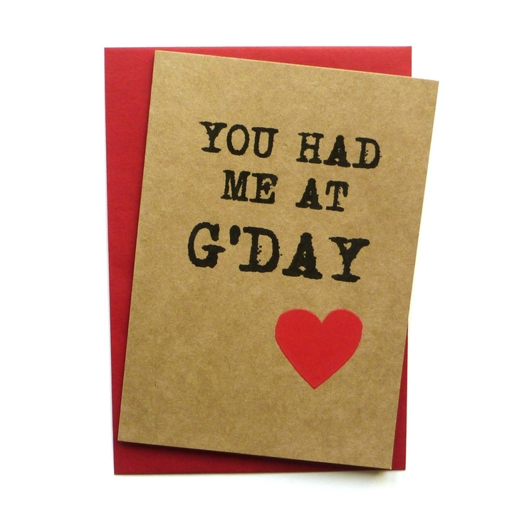 Great Australia Day/Valentines card- You had me at G'day - Hand screen printed card - etsy