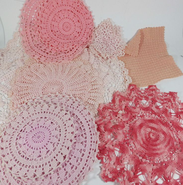 Crochet Jobs : Job Lot of Vintage Crochet Dolies & Mats - 16 Pieces - Pinks eBay ...