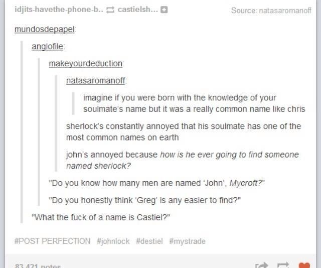 If you were born knowing your soulmates name. And it was something really common. Or something very strange... #Castiel #Sherlock: