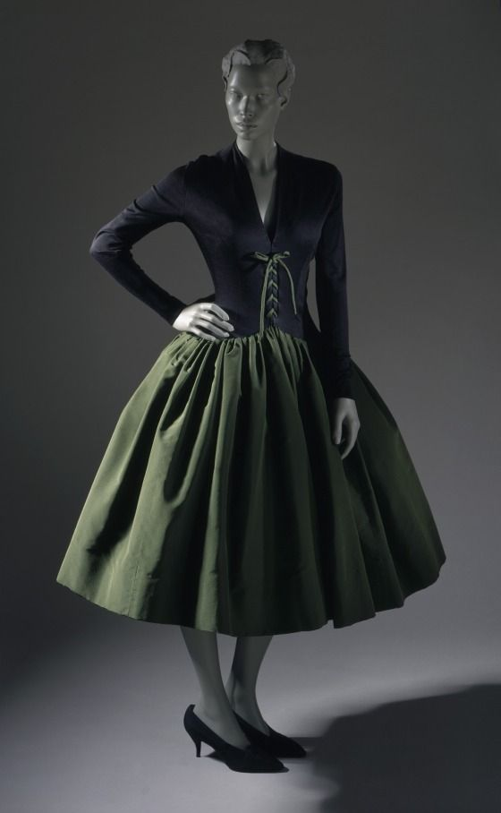 Woman's Cocktail Dress, Norman Norell, ca. 1958, American; Synthetic jersey bodice; silk faille skirt