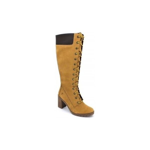 Timberland Allington 14IN A1KBT High Boots ($240) ❤ liked on Polyvore featuring shoes, boots, brown, women, tall brown boots, brown shoes, timberland boots, timberland shoes and timberland footwear
