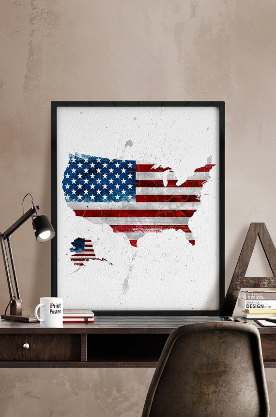 Watercolor USA Art Print USA map USA flag Poster by iPrintPoster