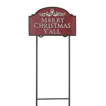 Greet your guests with Southern Hospitality with the Merry Christmas Y'all Garden Sign! #kirklands #holidaydecor #KirklandsHoliday